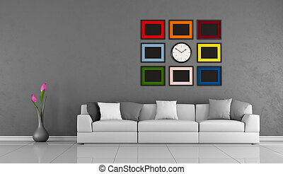 Modern Living room with gray wall,white sofa and colorful...