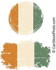 Cote d Ivoire round and square grunge flags. Grunge effect...
