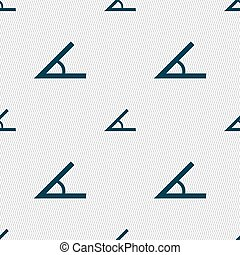 Angle 45 degrees icon sign. Seamless abstract background...