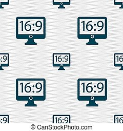 Aspect ratio 16 9 widescreen tv icon sign. Seamless abstract background with geometric shapes. Vector