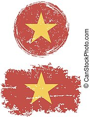 Vietnamese round and square grunge flags Grunge effect can...