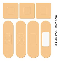 Set of Adhesive, flexible, fabric plaster. Medical bandage in different shape - straight, square, rectangular. Vector illustration isolated on white background.