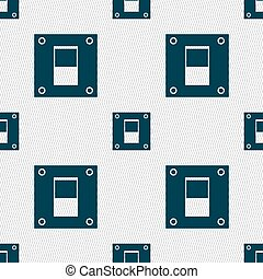 Power switch icon sign. Seamless abstract background with geometric shapes. Vector