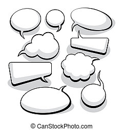 Speech And Thought Bubbles (vector) - Speech And Thought...