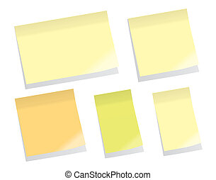 Sticky Notes (vector) - Set Of Blank Sticky Memo Notes
