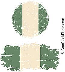 Nigerian round and square grunge flags. Grunge effect can be...