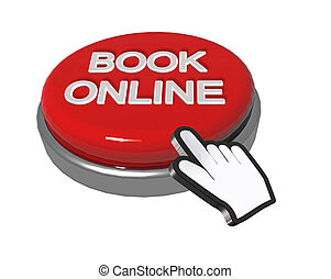 book online button, hand pointer