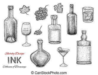 Set of hand dran ink sketches of bottles, drinks and alcohol...