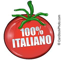 100% italian tomato isolated on white background