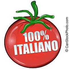 100% italian tomato isolated