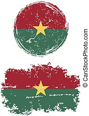 Burkina Faso round and square grunge flags.