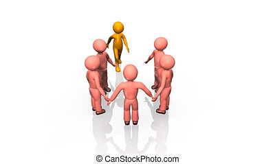 3D business team standing in a circle against a white...