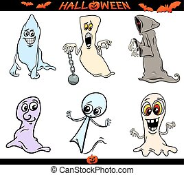halloween ghosts cartoon set - Cartoon Illustration of...