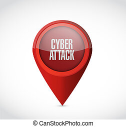cyber attack pointer sign concept illustration design...