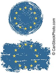 European Union round and square grunge flags.