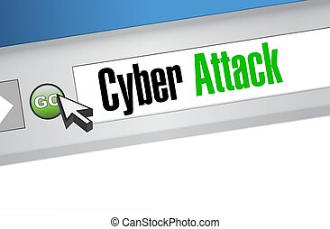 cyber attack online browser sign concept illustration design...