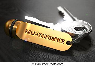 Self-Confidence written on Golden Keyring. - Keys and Golden...