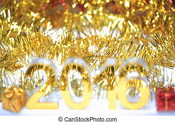 Bokeh of Golden 2016 3d icon with gift box - Bokeh of Golden...