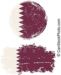 Qatari round and square grunge flags. Grunge effect can be...