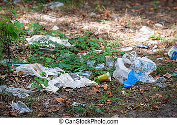 Pile of domestic garbage in park