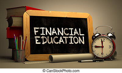 Financial Education Handwritten by white Chalk on a...