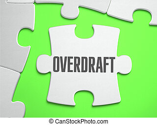 Overdraft - Jigsaw Puzzle with Missing Pieces. Bright Green...