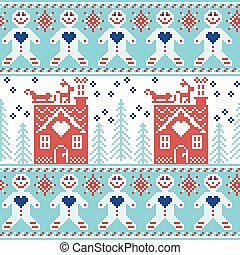 blue red pattern with ginger bread - Light blue, dark blue...