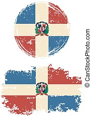 Dominican Republic round and square grunge flags Vector...