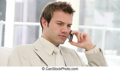 Charming businessman talking seriously on phone sitting on...