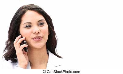 Cute businesswoman talking on phone