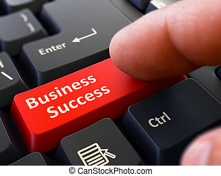 Business Success Concept. Person Click Keyboard Button.