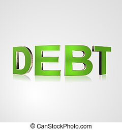 3D Text Debt - 3d text for business and website design With...