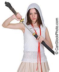 Girl teen slowly takes out katana from sheath - Girl teen...