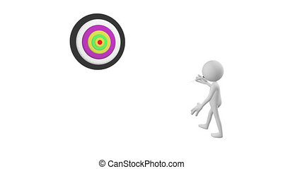 3D man playing darts against a white background
