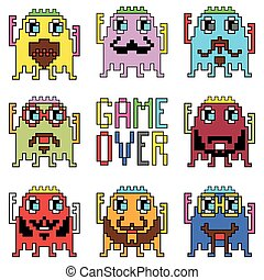 Retro game chatacters 2 with game o