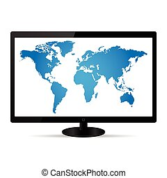World Map Illustration on a LCD Monitor