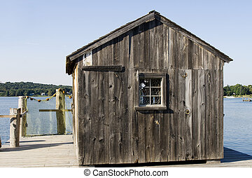 Vintage clam shack - Old wooden clam shack near the see