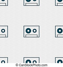 cassette sign icon. Audiocassette symbol. Seamless abstract background with geometric shapes. Vector