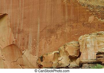 Petroglyphs in Capitol Reef national park utah usa