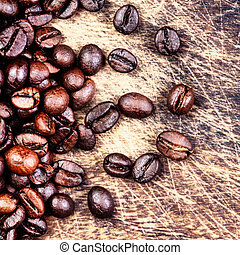 Coffee beans top view image, macro