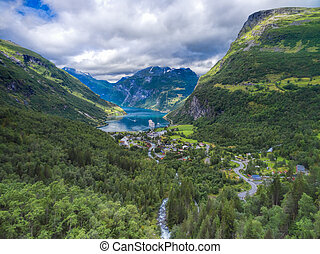 Geiranger fjord - Scenic view of Geiranger, famous fjord in...