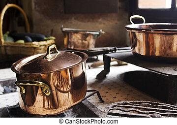Antique copper cooking pans - Antique copper pans on 17th...