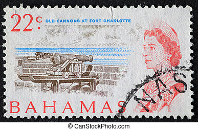 Postage stamp of the cannons at Fort Charlotte in the...