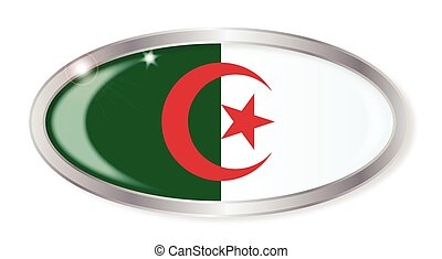 Algerian Flag Oval Button - Oval silver button with the...