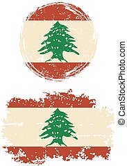 Lebanese round and square grunge flags. Vector illustration....