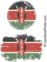 Kenyan round and square grunge flags. Vector illustration....