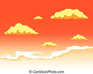 Sunset sky with clouds vector illustration