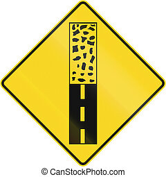 Pavement Ends in Canada - Canadian road warning sign -...
