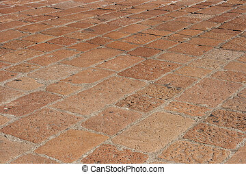 Cobblestones in Italy - italian red colored cobblestones