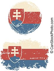 Slovakia round and square grunge flags Vector illustration...